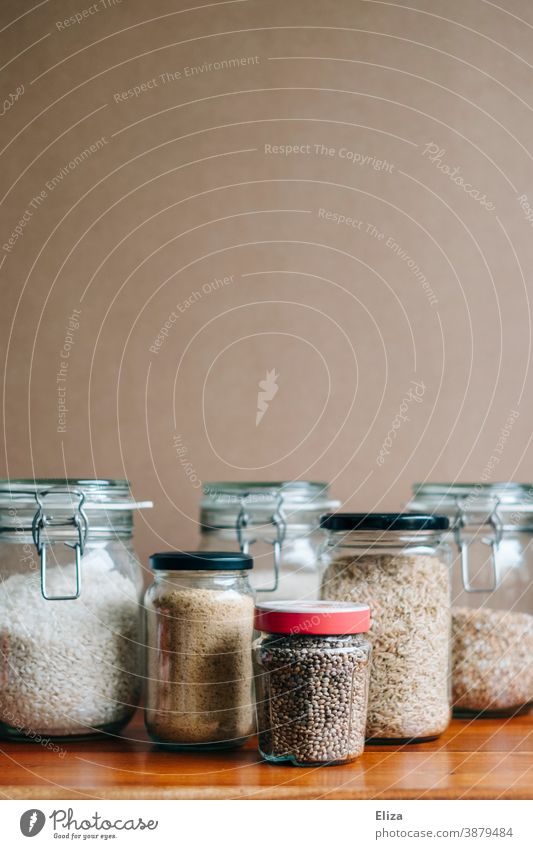 Sustainable storage of food in preserving jars Preserving jar Sustainability safekeeping Ecological Glass container Storage tank Inventories Food Rice Packaging