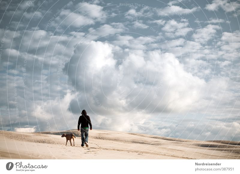 Dog Human being Sky Loneliness Landscape Clouds Far-off places Lanes & trails Freedom Sand Air Walking Success Hiking Elements Adventure