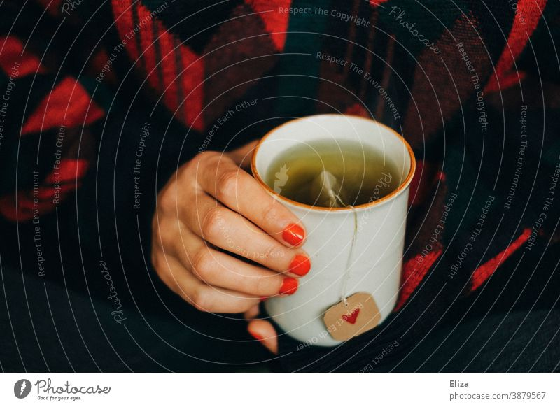 Woman with red painted fingernails holds a teacup, the tea bag has a label with a red heart on it. Tea have tea Cup Tea cup Heart Label Cozy Warmth Wintertime