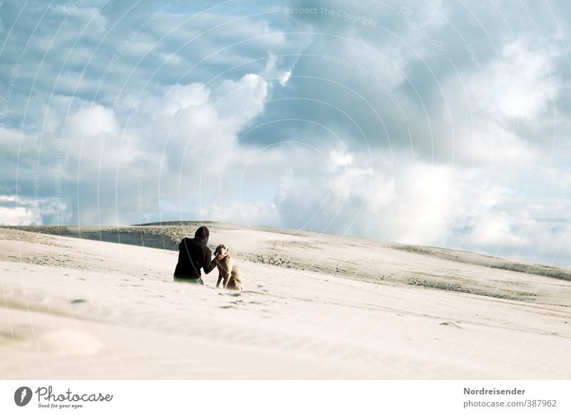 Dog Human being Sky Youth (Young adults) Loneliness Landscape Clouds Animal Far-off places Young man Freedom Sand Friendship Sit Climate Hiking