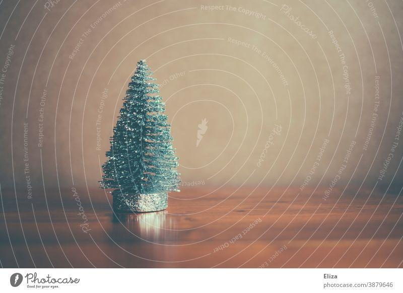 Small glittering fir tree figure. Christmas. Figure unostentatious Decent Delicate Fir tree Decoration Christmassy winter Christmas decoration