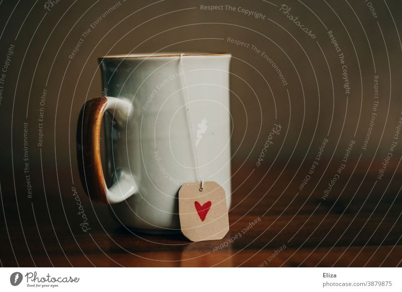 A cup of tea with a heart cup tea Tea Teabag Label Heart Sincere Love Cozy have tea tea love relax To enjoy enjoyment Cup Teatime Tea cup well-being Red Painted