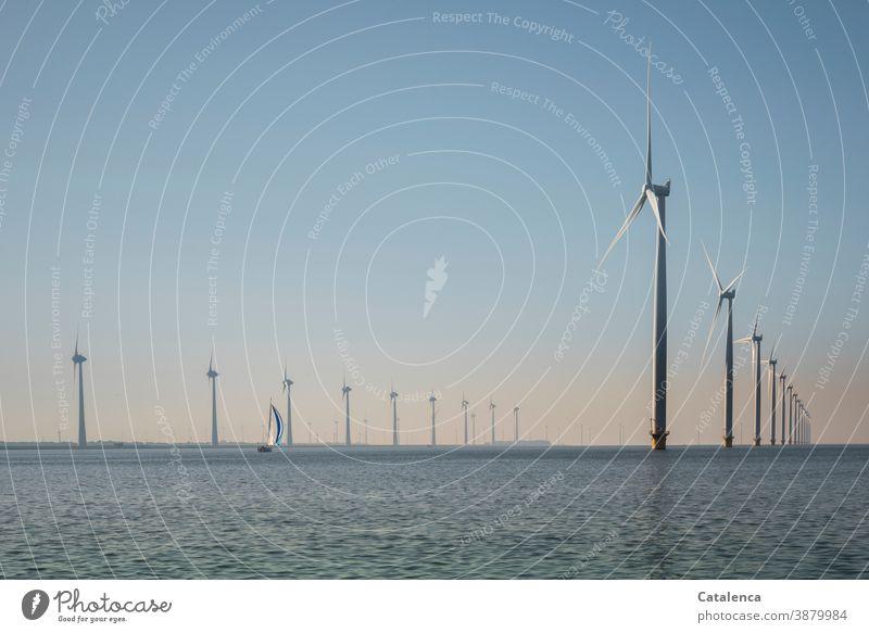 Offshore wind farm in the IJsselmeer with sailing boat Ocean Water Ijsselmeer windmills offshore wind farm Landscape Horizon sailing yacht Sky Day daylight