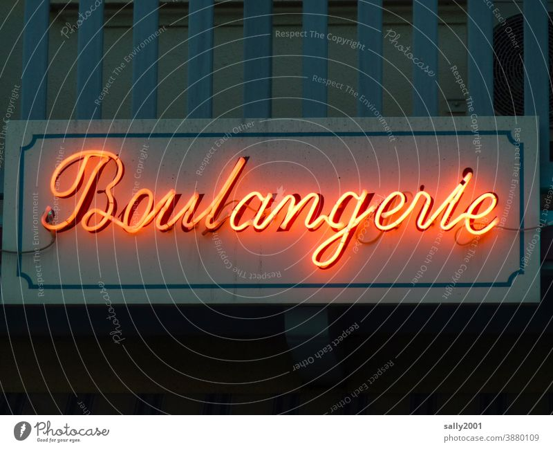 Bonjour... Bakery boulangeria lettering Letters (alphabet) Facade Characters Signs and labeling Neon sign fluorescent tube France French Building Store premises