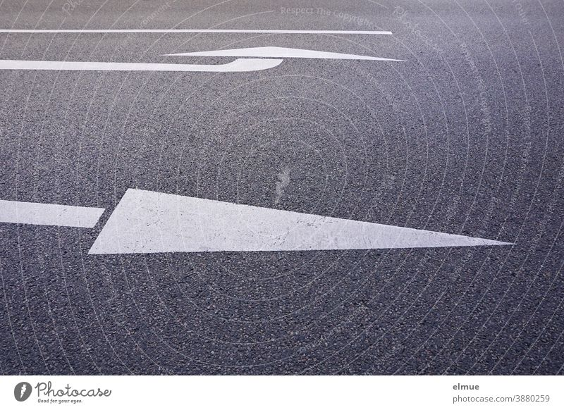 on a grey asphalt road, a white arrow indicates the straight ahead lane, another one indicates the left turning lane / lane marking / orientation / decision