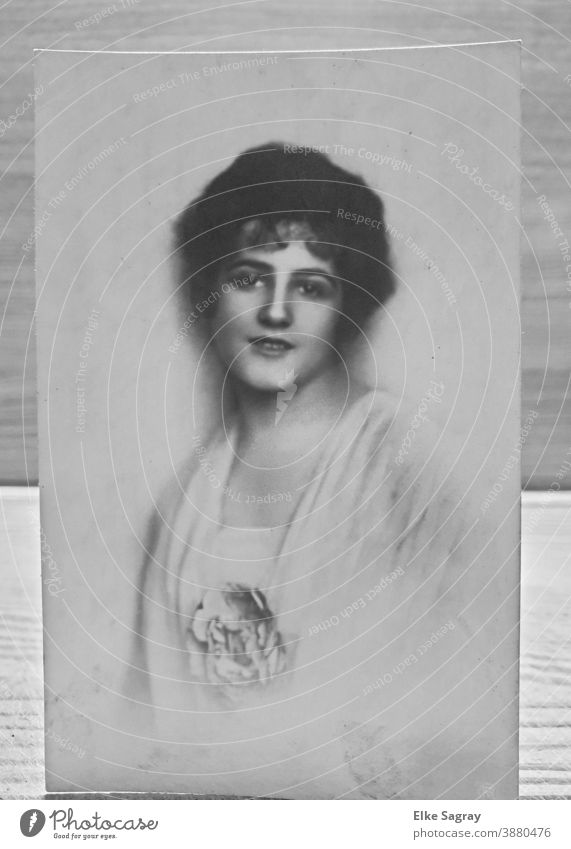 "Vintage portrait - ""Lady in white"" old photo vitage Past Photography Black & white photo Analog preserve Nostalgia"