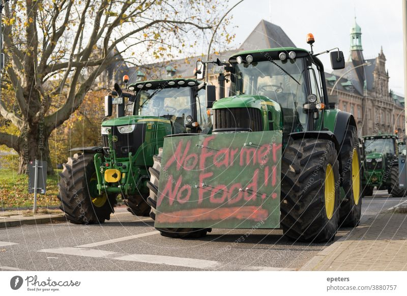 Tractor protest Farmers' protest in Hamburg Germany Demo Demonstration traktordemo EU subsidies Poster