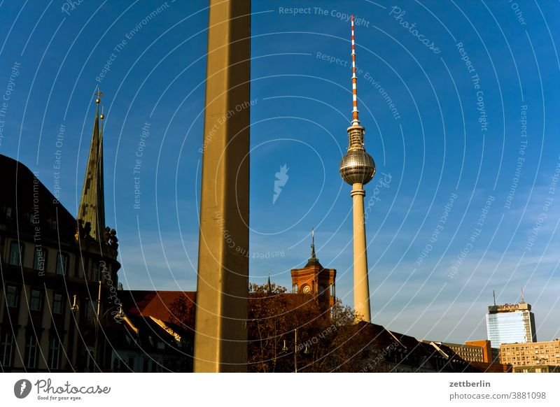 Television Tower, St. Mary's Church and Red City Hall alex Alexanderplatz Architecture Berlin Office city Germany Television tower Worm's-eye view Capital city