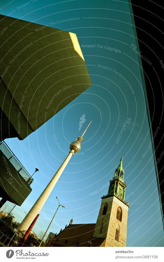TV tower, Marienkirche and anonymous houses in Karl-Liebknecht-Straße alex Alexanderplatz Architecture Berlin Office city Germany Television tower