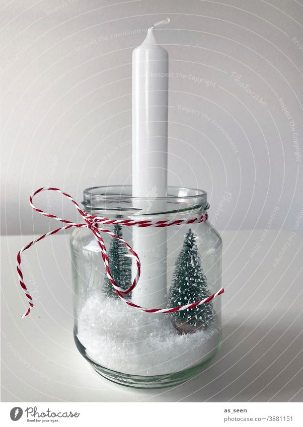 christmas decoration Decoration shoulder stand Red White Snow fir tree DIY Handicraft do-it-yourself Green Gray Christmassy snowy Christmas & Advent