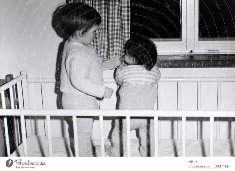 Let's stand together... bittiklein had to stand at 6 months... Child Infancy Stand Drinking Girl Human being Sixties 60s Small Study Bed Grating crib Old