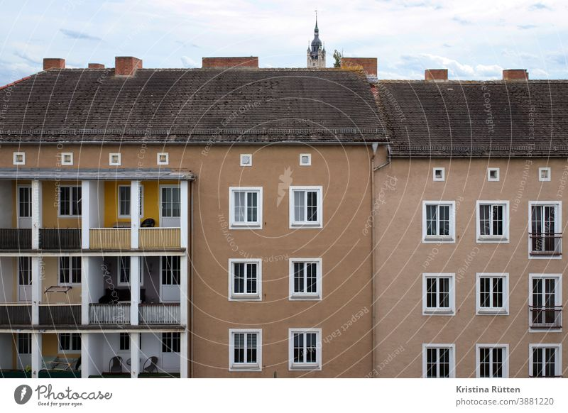 apartment buildings with and without balconies House (Residential Structure) houses Apartment Building Architecture Facade Balconies Loggia loggies Church spire