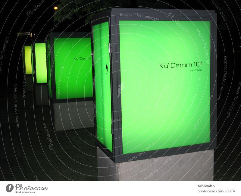 Green Dark Lighting Glass Concrete Obscure Column