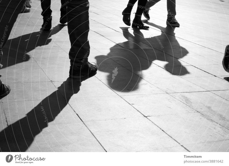 People and shadows on Roman square vacation people Legs Shadow Places Rome Footwear lines Black & white photo Tourism Italy Light