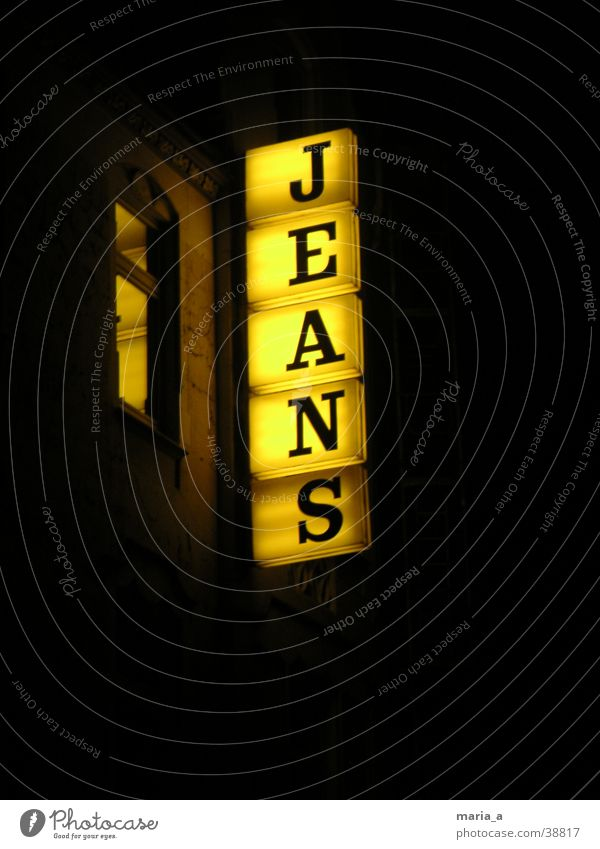 jeans Yellow Night Light Window Neon sign Pants Scaffold Clothing Letters (alphabet) Skylight Dark Advertising Jeans illuminated advertising jeans shop Ladder