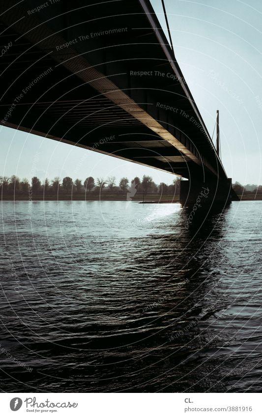rhine bridge Bridge River Rhine Duesseldorf Architecture Sky Theodor Heuss bridge Water