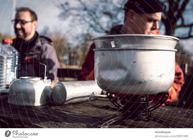 Cooking in the open Autumn Odenwald To go for a walk Forest Camping camping stove Lifestyle people Adventure Adults Exterior shot Hiking Nature