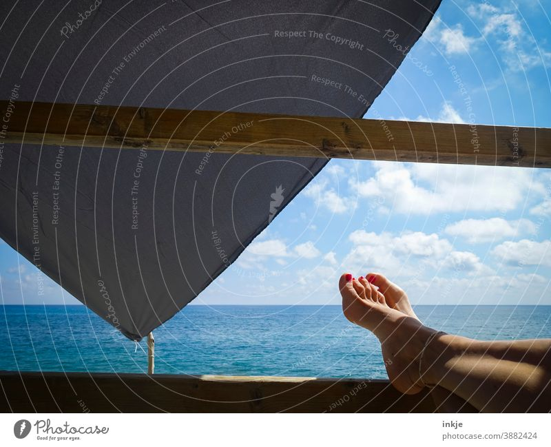 Time for barefoot at the sea Barefoot Colour photo Ocean Horizon vacation Summer Women's Feet Idyll free time Goof off Blue warm Shadow Lie 1 Person travel