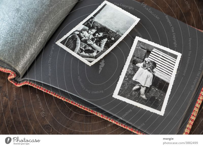 back to the roots   childhood Photography Analog Black & white photo family album Former Past Infancy preserve Memory Childhood memory look at Young woman