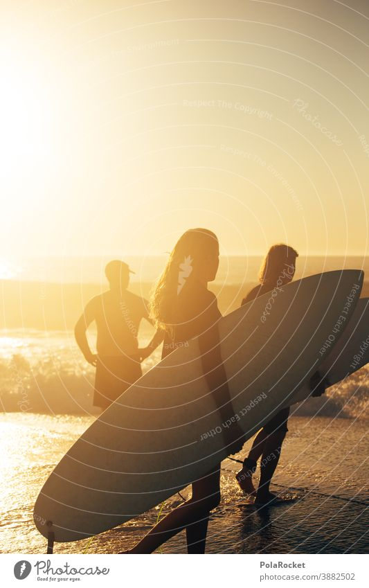 #A0# Surfing into the sunset Surfer Surfboard Surf school Surf Waves Surfers who go into the sea Surfers Paradise vacation Vacation mood Vacation photo