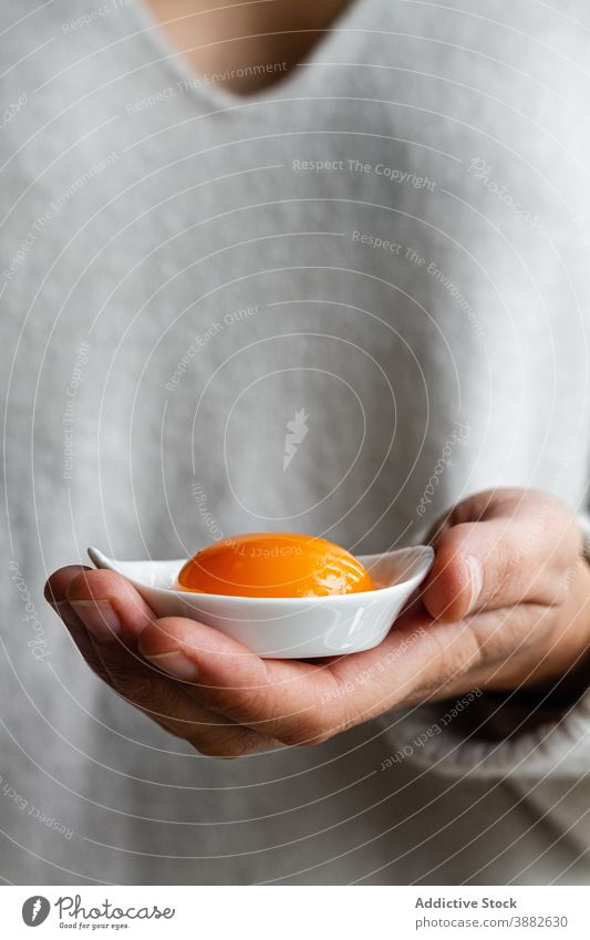 Person holding bowl with egg yolk kitchen raw uncooked yellow food ingredient culinary person show demonstrate meal cuisine recipe gastronomy natural prepare