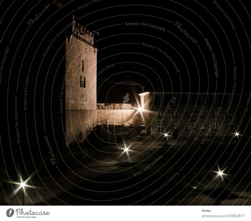 contemporary history | modern charm of the morbid Tower at night Artificial light Construction site illuminated Wall (barrier) House (Residential Structure)