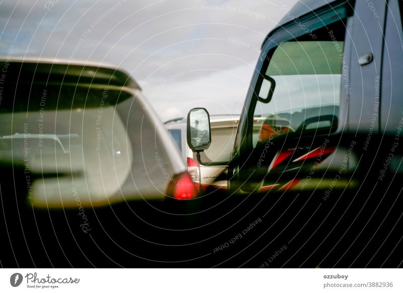rush hour car jam street crowded automobile business highway transportation road traffic urban city pollution modern vehicle line scene background travel bumper