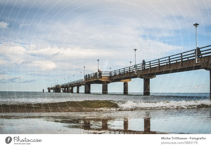 Wind and waves at the pier Ahlbeck Sea bridge Island Usedom Baltic Sea Bridge Architecture Beach Waves Water Sky Clouds Landscape Vacation & Travel Tourism