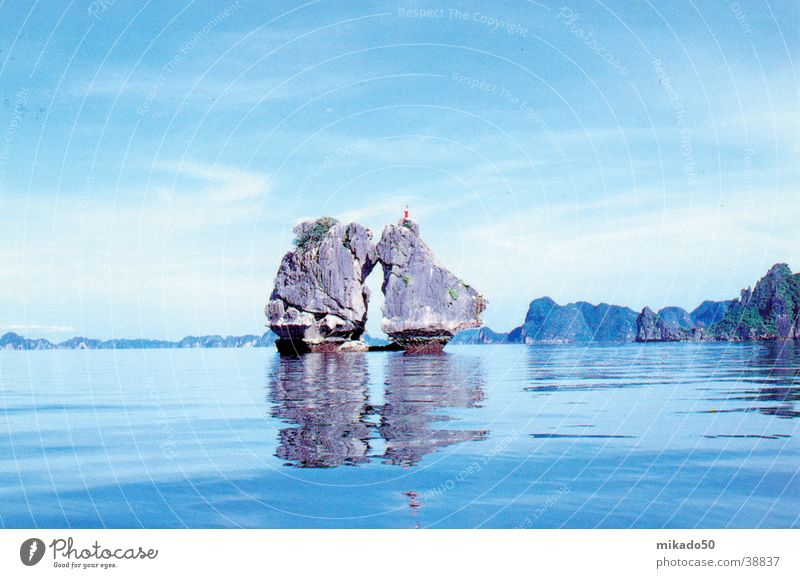Water Sky Blue Calm Dream Rock Idyll Asia Vietnam