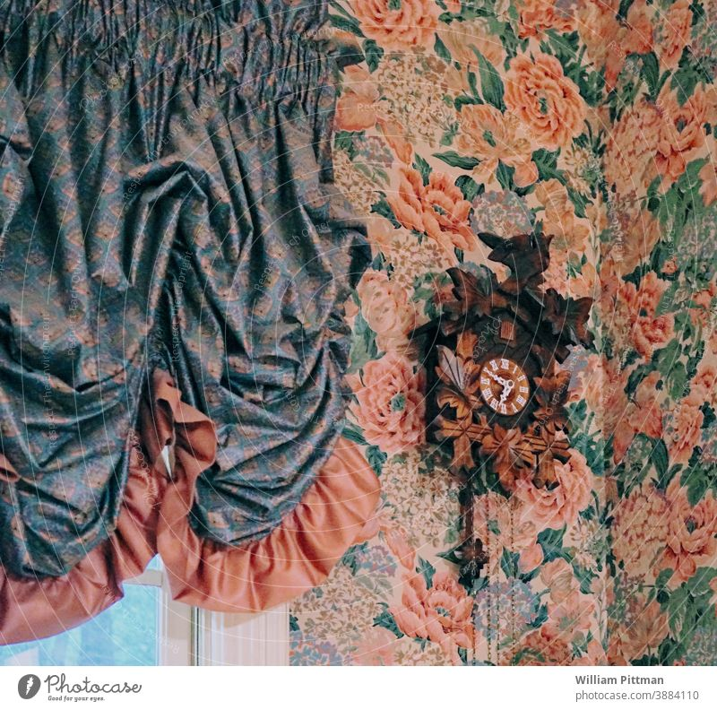 Cuckoo Clock Wallpaper Antique Old Retro Interior shot vintage Colour photo antique background old wall Deserted Decoration Pattern decor retro