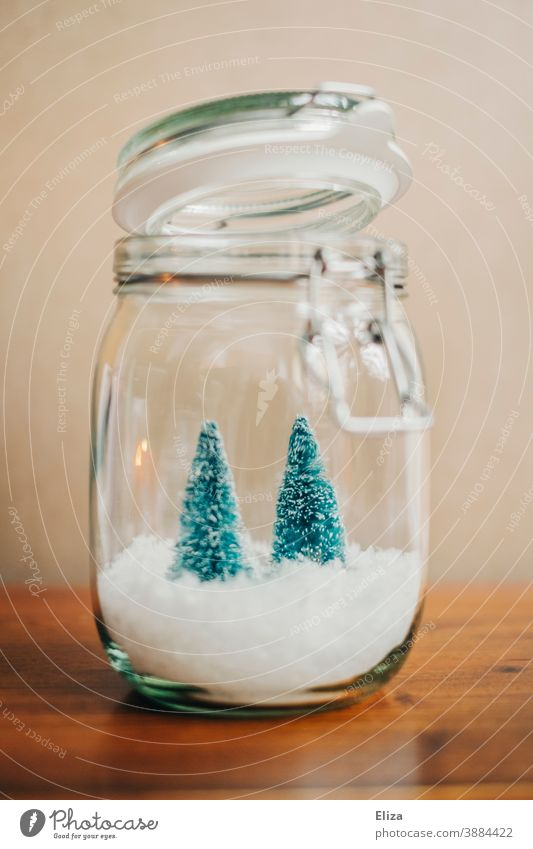 White Christmas in a jar - Two small Christmas trees on snow in a preserving jar fir trees Decoration Christmas decoration Glass Fairy lights Christmassy