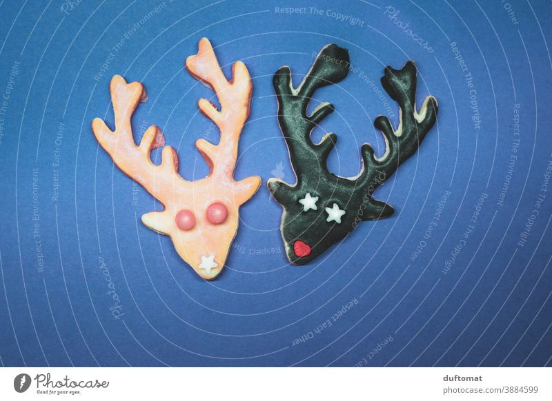 two cookies in deer shape Cookie Christmas Baking stag antlers cute Christmas & Advent Baked goods Delicious Christmas biscuit Nutrition cookie dough