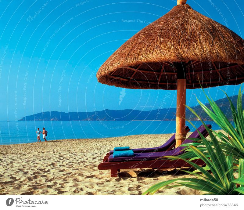 Water Green Blue Beach Sand Contentment Sunshade Protection
