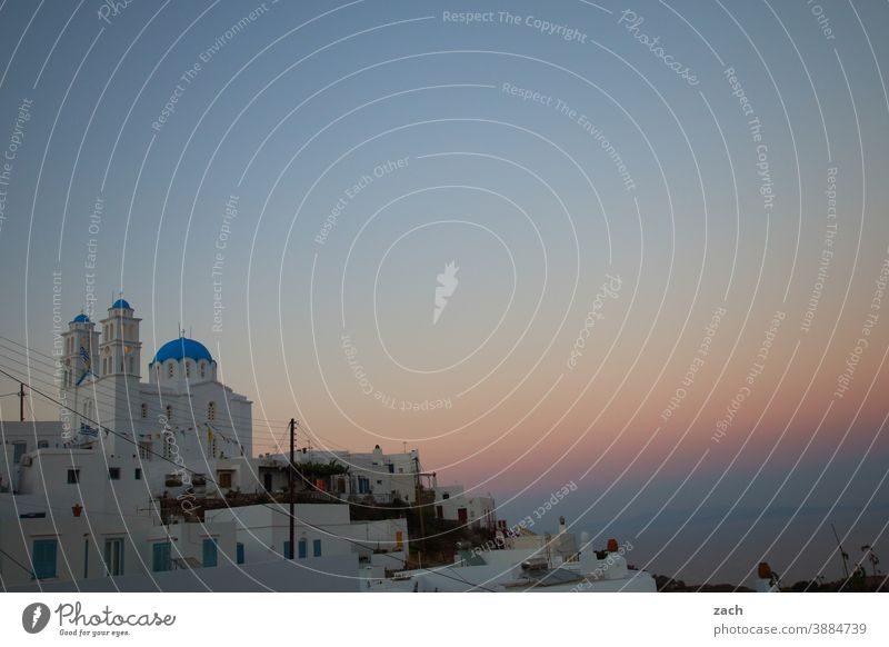 The Light of the Cyclades Village Religion and faith Blue White orthodox Orthodox churches Orthodoxy Chapel Church House (Residential Structure) Sunset Twilight