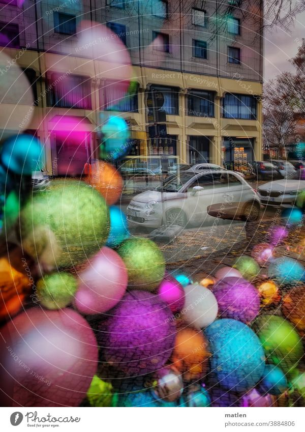 City Christmas Town Street cars Car Transport christmas ornaments christmas balls reflection House (Residential Structure) Deserted Exterior shot Vehicle