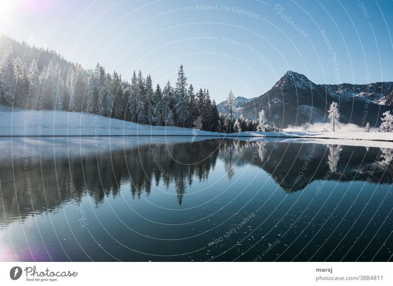 The lake rests still and reflects the trees and mountains Lake reflection Reflection in the water Blue Landscape clear Forest chill Freezing cold