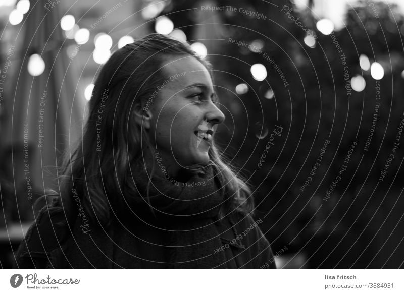 WOMAN - DARK - LIGHTS Woman Young woman 25-29 years old Hipster Alternative Adults Exterior shot Black & white photo Long-haired Looking away