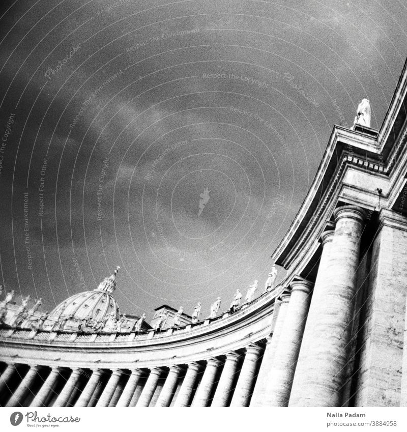 Colonnades and St. Peter's Basilica Analog Analogue photo Black & white photo Rome Italy columns Figures St. Peter's Cathedral Dome Sky Dark Exterior shot