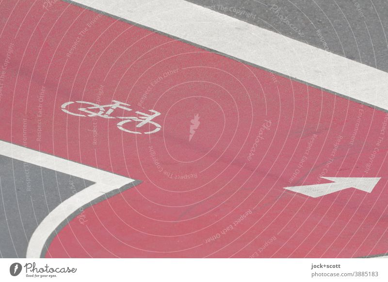 Cycle path clearly visible with directional arrow Pictogram Traffic infrastructure Street Signs and labeling Lane markings Red Line Arrow Road sign Asphalt