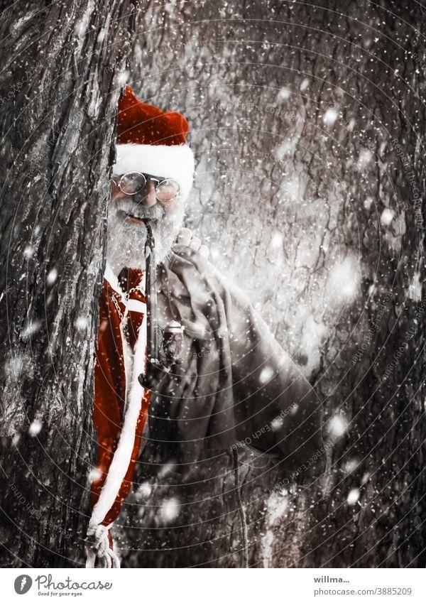 dear good santa claus Santa Claus Christmas costume Christmas & Advent Anticipation Winter Man Human being Adults Santa's cap Pipe Eyeglasses Sack Facial hair