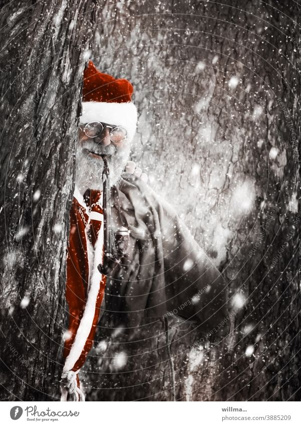 Santa Claus peeks out from behind snowy trees Christmas costume Christmas & Advent Anticipation Winter Man Human being Adults Santa's cap Pipe Eyeglasses Sack