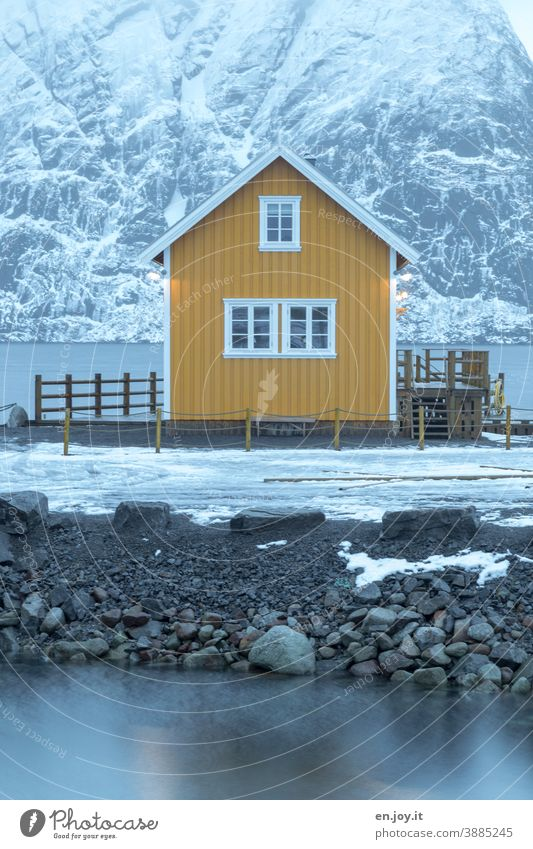 Yellow cabin by the fjord in Reine on the Lofoten Hut House (Residential Structure) Rorbuer Fishermans hut Vacation home Lofotes Norway Reinefjorden Winter Snow