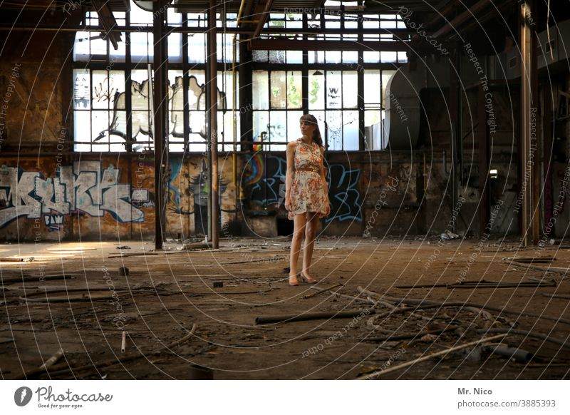 fashion show Woman Dress Summer dress Ruin lost places Fashion Cool (slang) Hip & trendy Ripe for demolition Self-confident Lifestyle Elegant Style