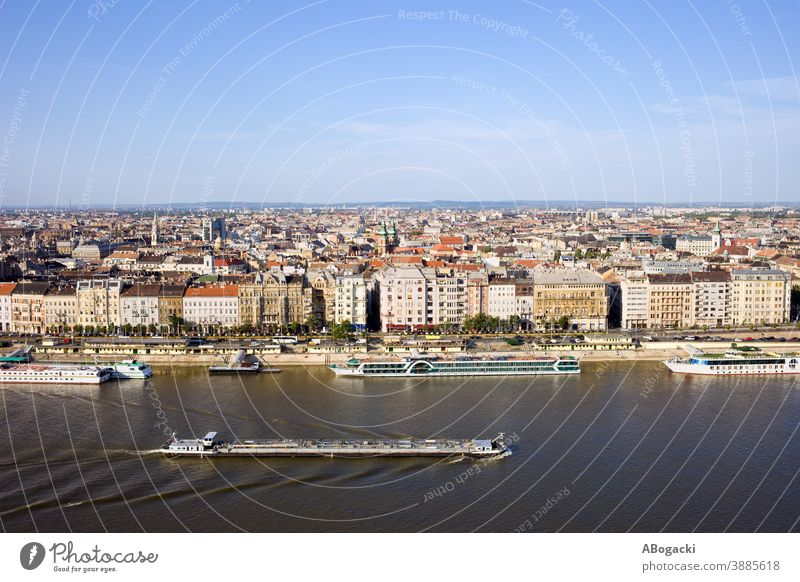 City of Budapest skyline and Danube river in Hungary. budapest city cityscape danube house building apartment tenement residential historic hungary europe