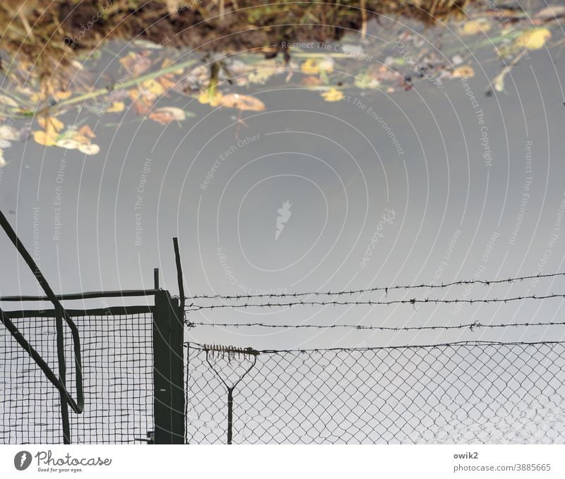 Stay out Barbed wire fence Protective Security force Dismissive Exterior shot Detail Structures and shapes Deserted Copy Space top Contrast Silhouette Long shot