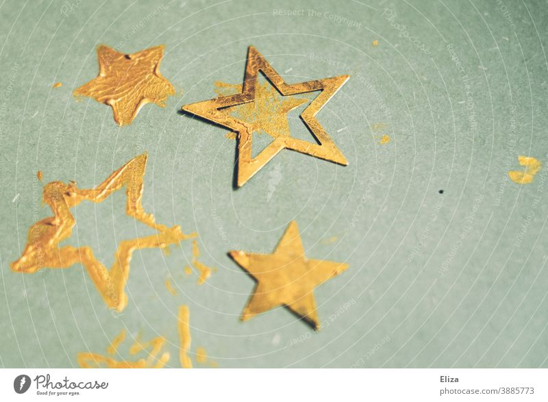 Golden stars on a turquoise background. Making Christmas cards. Blue golden Colour stamping Christmassy Christmas & Advent Christmas decoration Winter Stars
