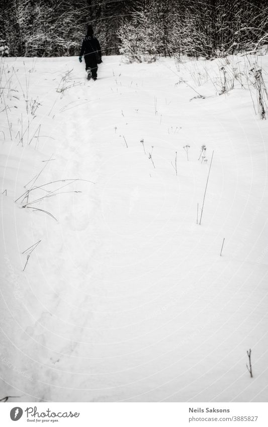 human silhouette in winter field Background background material beautiful black copy space hill horizontal position landscape nature no people nobody outdoor
