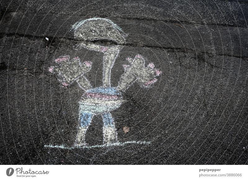 Little chalk man Chalk Chalk drawing painting Parenting Painting and drawing (object) Playing Street Joy Infancy Art Creativity Asphalt Leisure and hobbies