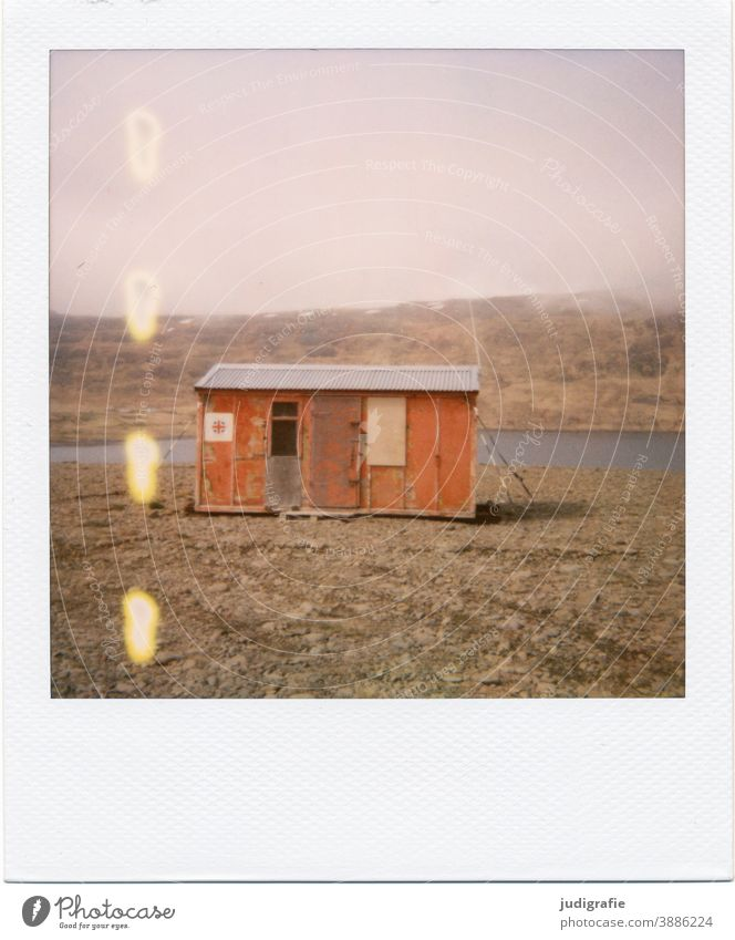 Icelandic house on Polaroid House (Residential Structure) Hut Flake Fjord Living by the water Wood Goal Entrance Deserted Colour photo Exterior shot Building