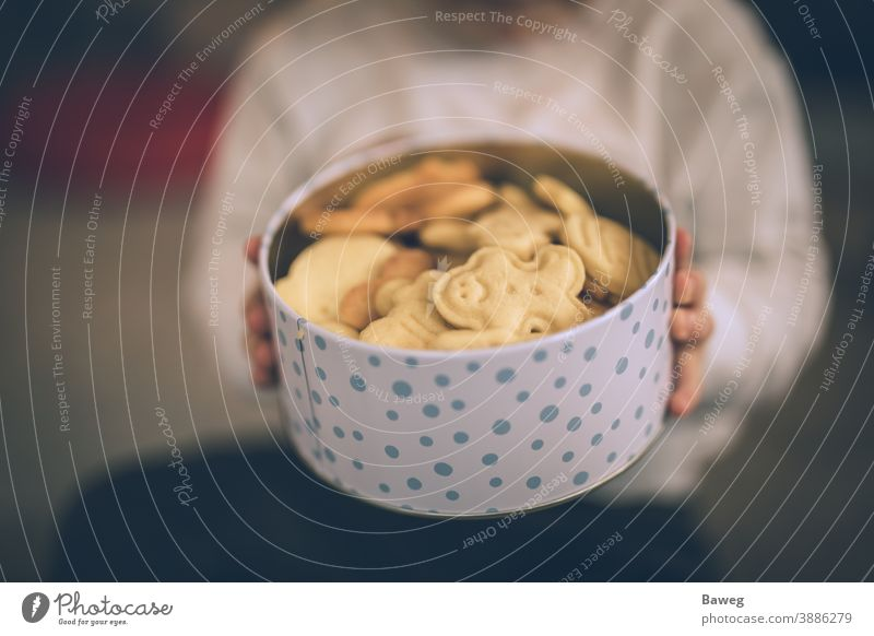 Young boy holding cookie jar. child kid cookies box Advent Aperture Christmas Depth of Field Enjoyer Enjoyment Family Food Fun Generation Generations Hands